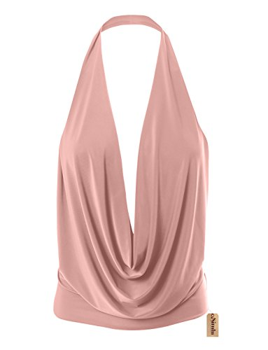 Womens Lightweight Sexy Drape Backless Cowlneck Low Cut Halter Top with Stretch (Size Large, Dust ()