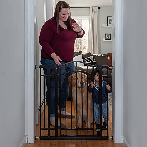 """416%2Bgq2 WKS Summer Multi-Use Decorative Extra Tall Walk-Thru Baby Gate, Fits Openings 28.5"""" to 48"""" Wide, Black Metal, for Doorways and Stairways, 36"""" Tall Baby and Pet Gate, Black, One Size    With its stylish arch, the Summer Multi-Use Decorative Extra Tall Walk-Thru Baby Gate in black metal is secure, convenient, and compliments your home's look. This 36"""" tall baby and dog gate fits openings 28.5"""" to 48"""" wide and can be installed in doorways or hallways using the no-drill pressure mount system with adhesive wall cups. Hardware is included for a secure installation at the top or bottom of stairs. It's easy to operate this gate when your hands are full. The convenient auto-close feature will shut and latch the door behind you. Or engage the hold-open feature by opening the door more than 90 degrees. If installed between rooms, the gate door opens in either direction. Over stairs, add the included door stopper to help prevent the door from swinging outward. Package includes hardware installation kit. Recommended tools for hardware installation: drill, Phillips-head screwdriver, pencil, measuring tape. TWO INSTALLATION OPTIONS: Install this baby gate for stairs safely with the included hardware kit. Or set it up in a doorway by using the no-drill pressure mount system with wall cups.CONVENIENT DOOR: Perfect for when your hands are full, this baby gate with 19"""" wide door is equipped with a hold-open feature that helps keep the door open, and an auto-close that shuts it behind you.SAFE AND SECURE: You'll know your baby or pet can explore safely when this baby gate with door is latched securely. The door stopper helps prevent the door from swinging outward when installed over the stairs.STYLISH LOOK: This metal safety gate with a black finish features an eye-catching arch, so you can childproof your home in style."""