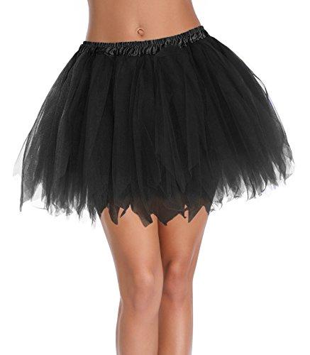 v28 Women's Teen's 1950s Vintage Tutu Tulle Petticoat Ballet Bubble Skirt (Regular Size (US: 0-12), Black)