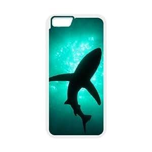 Diy Scary Shark Phone Case for iphone 6 Plus (5.5 inch) White Shell Phone JFLIFE(TM) [Pattern-1] Kimberly Kurzendoerfer