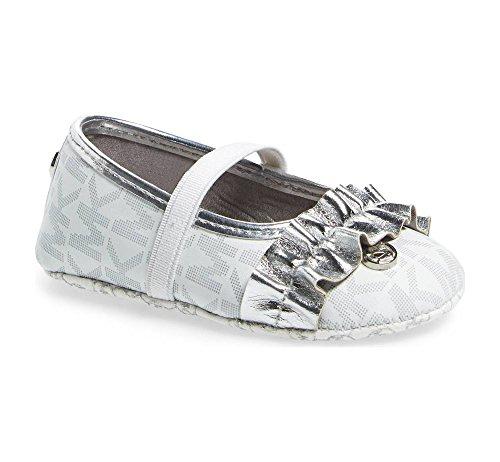 Michael Kors Girl's Baby Flower Crib Shoe White Silver 4C (Jane Michael Kors)