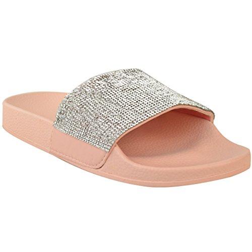 New Womens Slip On Sliders Ladies Flat Diamante Slipper Sandals Comfy Shoes Size Pastel Pink bLCWWR14U