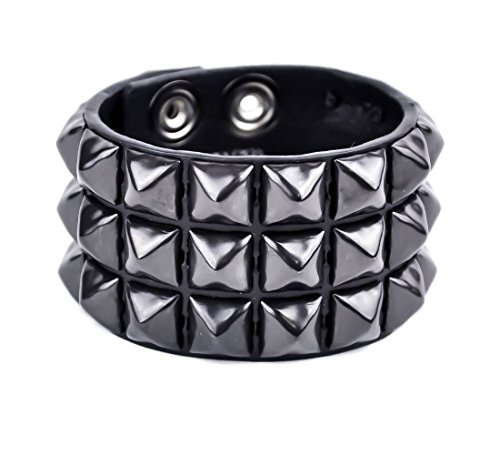 (YDS Accessories 3-Row Black Pyramid Stud Quality Leather Wristband Bracelet)