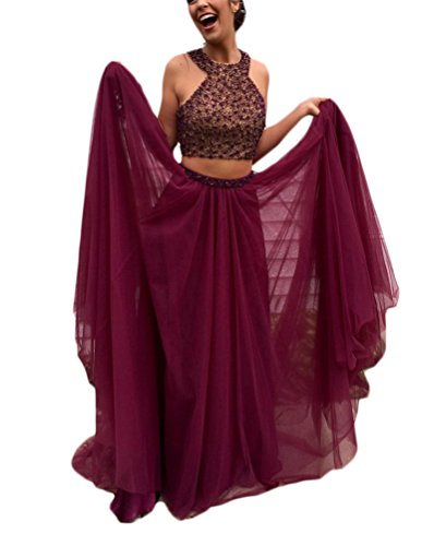 TBGirl Stylish Burgundy Two Pieces Prom Dresses Beaded Long Evening Gown