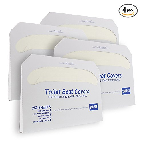 Disposable Half-Fold Toilet Seat Cover Dispensers, White (4 Pack of 250) - 14