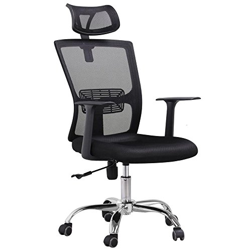 Topeakmart Ergonomic High Back Mesh Office Computer Desk Task Chair with Tilt Mechanism, Black by Topeakmart