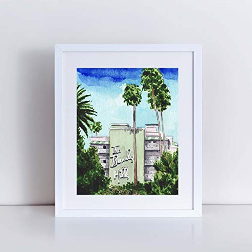 The Beverly Hills Hotel Hollywood Pink Palace Art Print Watercolor Painting Wall Decor Home Glamour Los Angeles California 90210 Sunset Boulevard Canvas Gift for Her -  Laura Row Studio