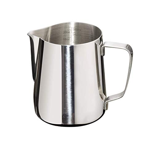 Joytata Milk Frothing Pitcher 20oz Stainless Steel Cup with Double Measurement Scales Perfect for Latte Art,Espresso Maker,Cappuccino Maker-18/8 Stainless Steel Milk Frother Pitcher Steaming Pitcher ()