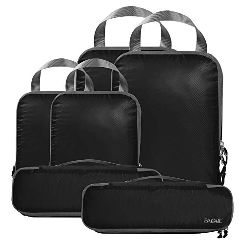 BAGAIL 6 Set Ultralight Packing Cubes Expandable Travel Packing Organizers Black(2M+2S+2Slim)