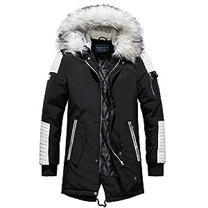 YYZYY Homme à Capuche Manteau Hiver Chaud Épais Fourrure avec Capuche Rembourrée Veste Mens Warm Winter Hooded Parka…