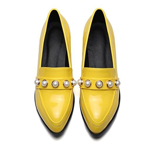 Carolbar Womens Spitse Teen Manchet Gerolde Lage Hakken Mode Schoenen Geel