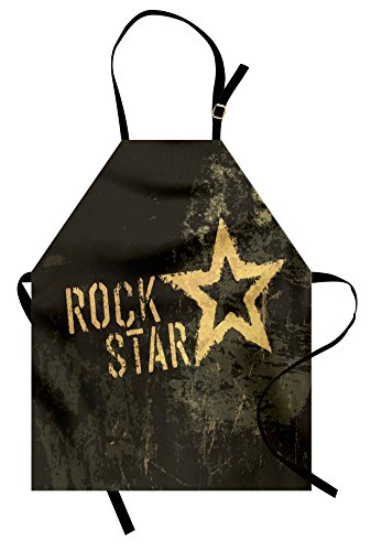 Lunarable Star Apron, Rock Star Lettering Dark Grunge Backdrop with Star Concert Music Themed Art Print, Unisex Kitchen Bib Apron with Adjustable Neck for Cooking Baking Gardening, Mustard -