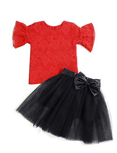 2Pcs Kids Toddler Baby Girl Clothes Summer Outfits Bell Short Sleeve Lace T-Shirt + Tutu Skirt Outfit Sets (2-3T/90)