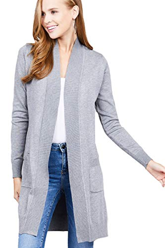 YourStyle Open Front Long Cardigan-Classic Knit Long Sleeve (Small, Heather Grey)