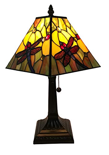 Amora Lighting AM289TL08 Tiffany Style Dragonfly Table Lamp, Multicolor