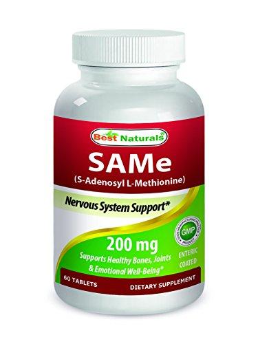 SAM-e 200 mg 60 entérica comprimidos recubiertos por los mejores productos naturales - suplemento con 200 mg activo S-adenosil metionina por pastilla - fabricados en un E.e.u.u. basan GMP certificada la facilidad y tercero prueba de pureza. Garantizado!!!