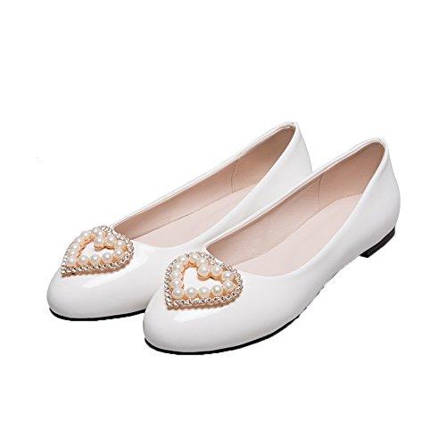 Allhqfashion Dames Laklederen Lage Hakken Ronde Neus Instelbare Pumps-schoenen Wit