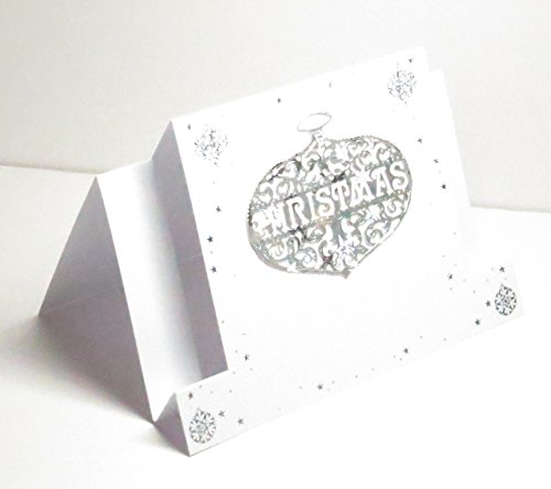 Bauble Card - Handmade Holographic Silver Stars & White Christmas Bauble/Ornament Centre Stepper Greeting Card - Blank Inside - Limited Edition - 1 in stock