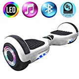 Energen Hoverboard 6.5' Self Balancing Scooter for Kids with Bluetooth Speaker & LED Light-Ul2272 Certified - White/Black