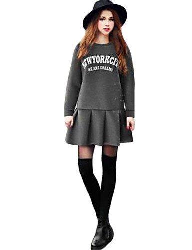 GSP-Damen Kleid - Übergrößen Übergröße / Sexy Druck Mini Baumwolle Rundhalsausschnitt