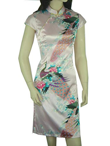 Classic Blue Chinese Female Satin Rayon Traditional Evening Qipao by yubanfifteen (Image #4)