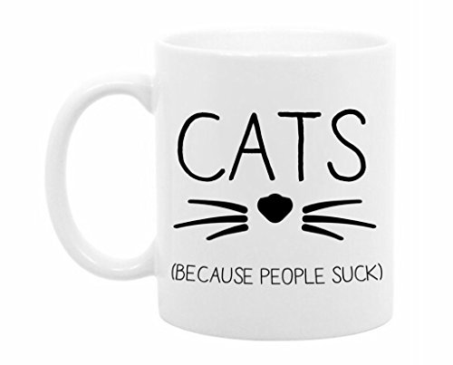 The Coffee Corner - Cats Because People Suck - 11 Ounce White Ceramic Coffee or Tea Mug - Funny Cat Lady Gift - Cat Person Present