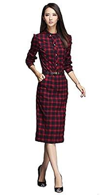 iRachel 2015 Womens Long Sleeve Plaids Pencil Shirt Dress Casual Slim Tunic Dress