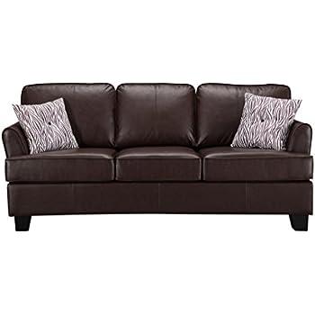Amazon.com: Pilaster Designs - Faux Leather Sofa Hide a ...