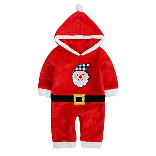 Unisex Baby Flannel Romper Animal Onesie Costume Hooded Cartoon Outfit Suit (Santa, 100) -