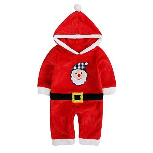 Unisex Baby Flannel Romper Animal Onesie Costume Hooded Cartoon Outfit Suit (Santa, 80) ()