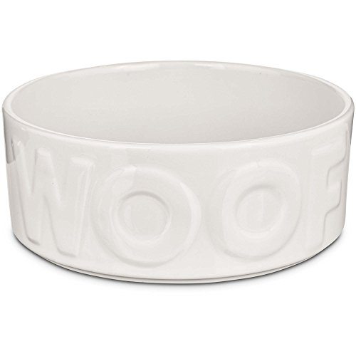 Dog Woof Dish - Harmony White WOOF Ceramic Dog Bowl, 6 Cups, Large
