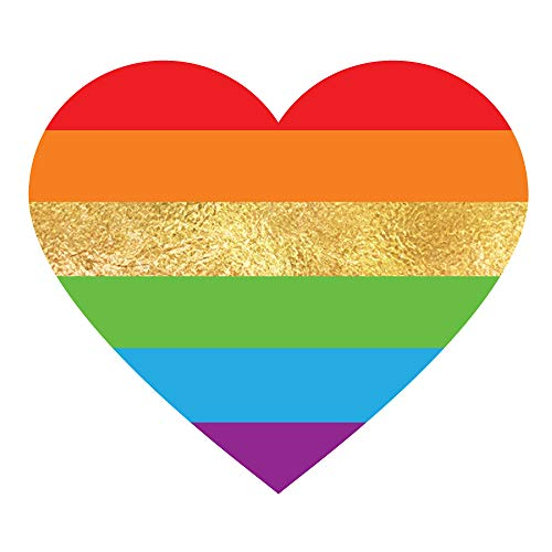 RAINBOW HEART set of 25 premium waterproof temporary colorful metallic gold jewelry foil Flash Tattoos - party favors