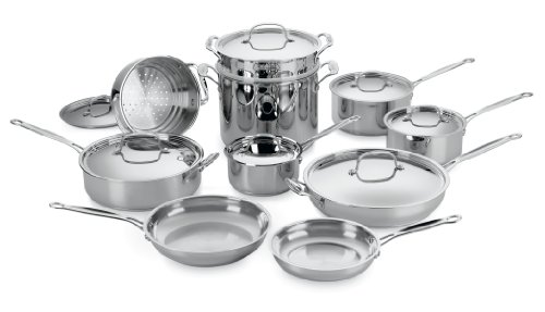 17pc Stainless Cookware Set (Cuisinart 77-17 Chef's Classic Stainless 17-Piece Cookware Set DISCONTINUED BY MANUFACTURER)