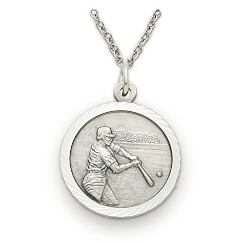 TrueFaithJewelry Sterling Silver Baseball Sports Medal with Christ Cross Back, 3/4 Inch