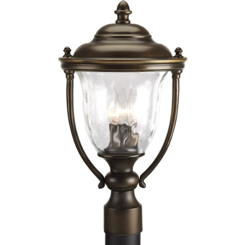 Progress Lighting P5484-108 3-Light Large Post Lantern with Classic Roof Lines and Unique Cast Yoke Straps In Water Glass Urn Shades, Oil Rubbed Bronze - Progress Lighting Bronze Outdoor Lantern