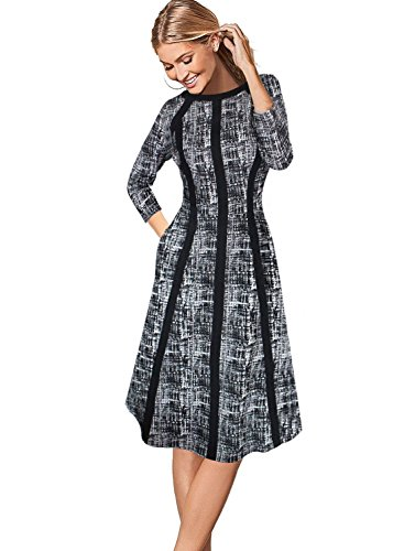 Patchwork Skirt Pattern (VFSHOW Womens Vintage Patchwork Pockets Wear To Work Casual A Line Dress 018 Blk 5XL)