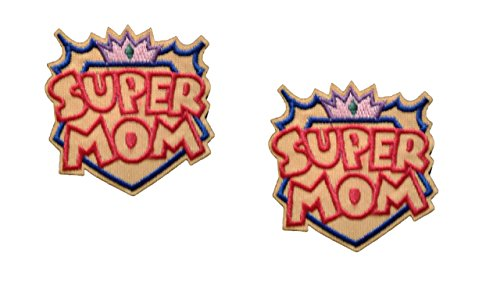 2 pieces SUPER MOM Applique Embroidered Motif Fabric Love Mother Day Mum Decal 2.2 x 2.2 inches (5.5 x 5.5 cm) (Mama Patch)