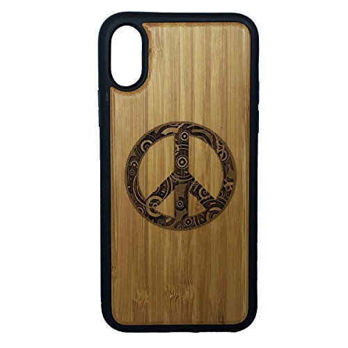 (Peace Sign Phone Case Cover iPhone XR iMakeTheCase | Eco-Friendly Bamboo Wood Cover + TPU Wrapped Edges | Retro Hippie Chic Peaceful Ornamental)
