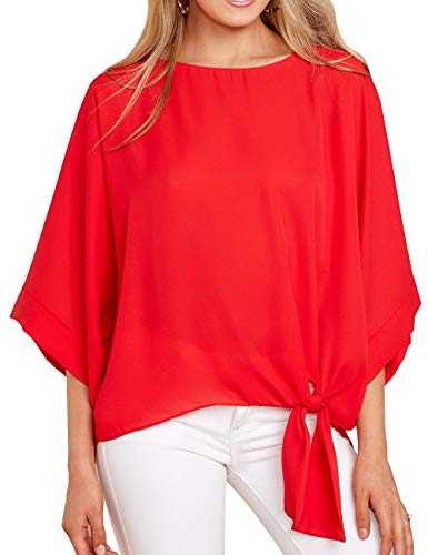 Niitawm Womens Blouses Tie Front Half Sleeve Crew Neck Casual Loose Fit Blouse Shirts Tops ()
