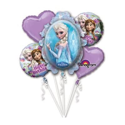 Disney Frozen Elsa and Anna Balloon Bouquet Birthday Party Favor Supplies 5ct Foil Balloon Bouquet: Toys & Games