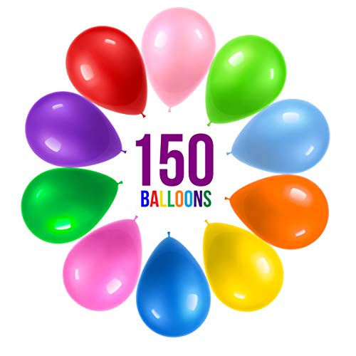 lloons 12 Inch 10 Assorted Rainbow Colors - Bulk Pack of Strong Latex Balloons for Party Decorations, Birthday Parties Supplies or Arch Decor - Helium Quality ()