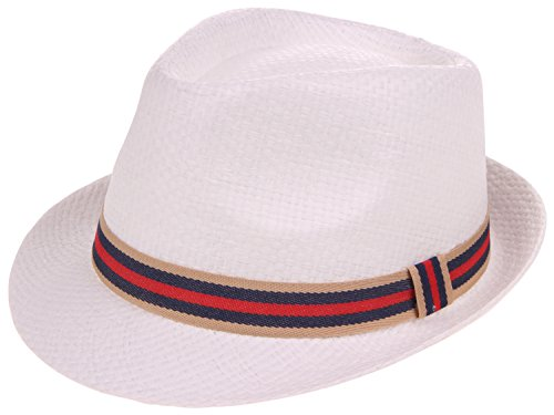 (Enimay Classic Fedora Hat Gangster Cuban Summer Straw Trilby White Anchor)