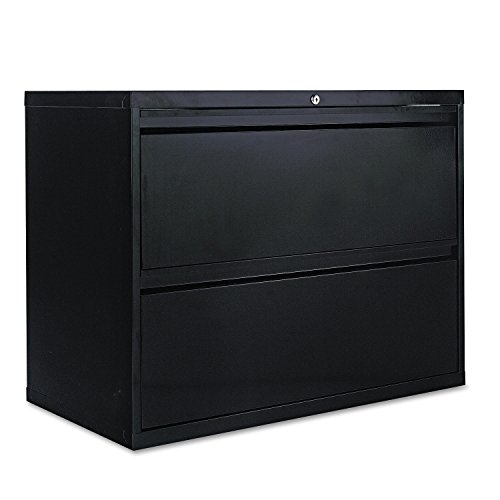 ra - Two-Drawer Lateral File Cabinet, 36w x 19-1/4d x 29h, Black - Sold As 1 Each - 19 1/4quot; deep drawers with side-to-side hang rails to accommodate letter/legal hanging files. - Full drawer extension on steel ball bearing telescoping slide suspension. - Reinforced double-wall drawer fronts provide extra stability. - Stylish full-width recessed pulls. - Anti-tipping interlock system allows only one drawer to open at a time. (File Cabinet Drawer Slides)