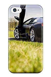 Iphone 4/4s Case, Premium Protective Case With Awesome Look - Black Lamborghini Murcielago In Park Green Grass Cars Lamborghini Kimberly Kurzendoerfer