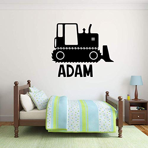 Personalized Boy Name Construction Bulldozer Bedroom Decor | Vinyl Wall Sticker for Kid's Playroom or Birthday Party Decoration | Baby Shower Gift Idea | Blue, Red, Black, White, 25 Colors ()