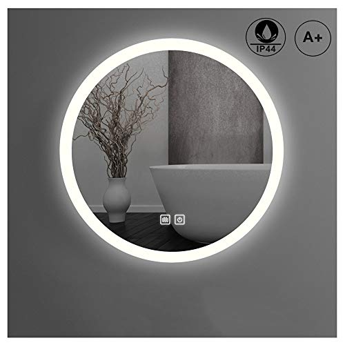 Bathroom Wall Mirror LED, Modern Big Round Wall Mounted Mirror Anti-fog Waterproof -