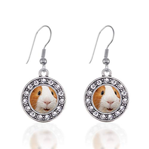 Inspired Silver - I Love Guinea Pigs Charm Earrings for Women - Silver Circle Charm French Hook Drop Earrings with Cubic Zirconia - Pig Earrings Guinea