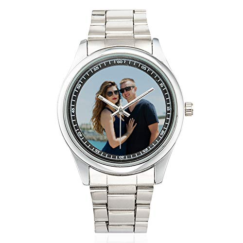 (Personalized Graphic Photo Face Watch Design Your Own Picture for Men/Boyfriend/Husband, Stainless Steel Casual Wrist Watches)