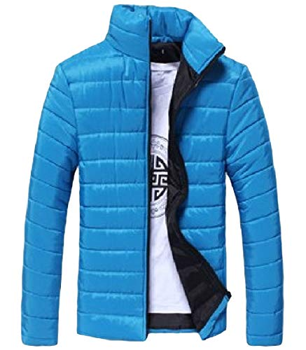 XINHEO Down Zip Blue Warm Long Thickened Sleeve Stand Colour Collar Pure Lake Mens Parka wpUrHw