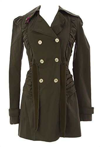 FORNARINA-Womens-Curl-Belted-Military-Trench-Coat-Sz-Small-Army